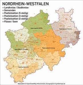 Nord Rhein Westfalen : nordrhein westfalen nrw vektorkarte landkreise gemeinden plz 2 3 5 grebemaps ~ Buech-reservation.com Haus und Dekorationen