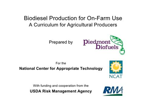 si鑒e social syst鑪e u biodiesel production for on farm use a curriculum for
