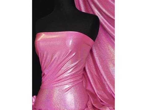 stretch foil flo pink hologram foil micro lycra stretch fabric