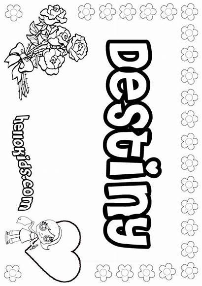 Destiny Coloring Pages Letter Sheets Names Hellokids