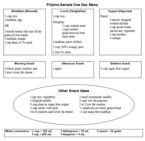 cuisine plan type diet food plan philippines diabetic diet foods