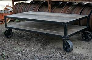 combine 9 industrial furniture coffee table With rustic coffee table with casters