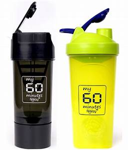 Foolzy My 60 Minutes Workout Gym Shaker Bottle Cup 700ml   500ml Pack Of 2