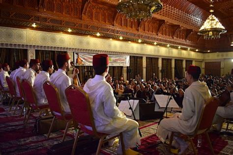 music andalusian fez festival cultures 25th morocco celebrates across annual packed auditorium bands plays wednesday local april during