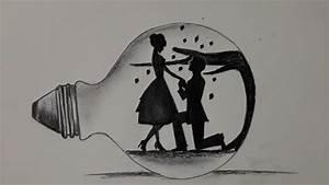 Beautiful Pencil Drawing Of Couple Inside Bulb  Couple