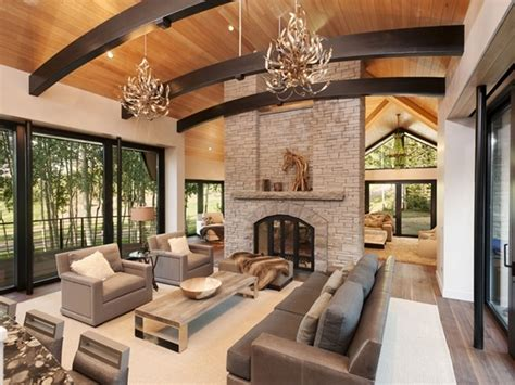 room furniture ideas with fireplace antler chandeliers and grey leather sofa with Living