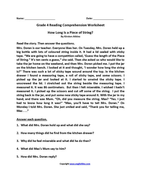 grade free printable reading comprehension worksheets for