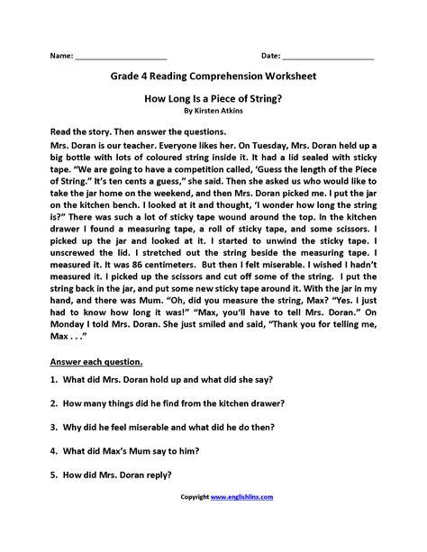 grade free printable reading comprehension worksheets for