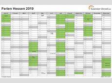Ferien Hessen 2019 Ferienkalender zum Ausdrucken