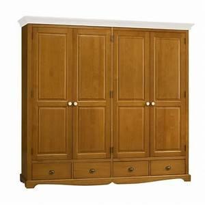 Armoire Bois Blanc : armoire penderie 4 portes pin miel dessus blanc beaux meubles pas chers ~ Teatrodelosmanantiales.com Idées de Décoration