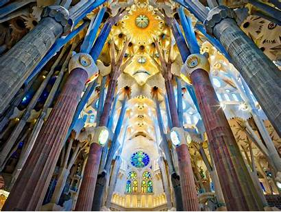 Barcelona Sagrada Familia Inside Gaudi Oc Cathedral