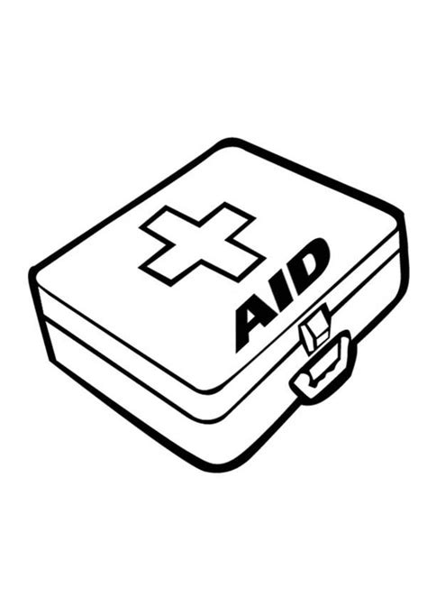 aid kit    medical tools coloring page