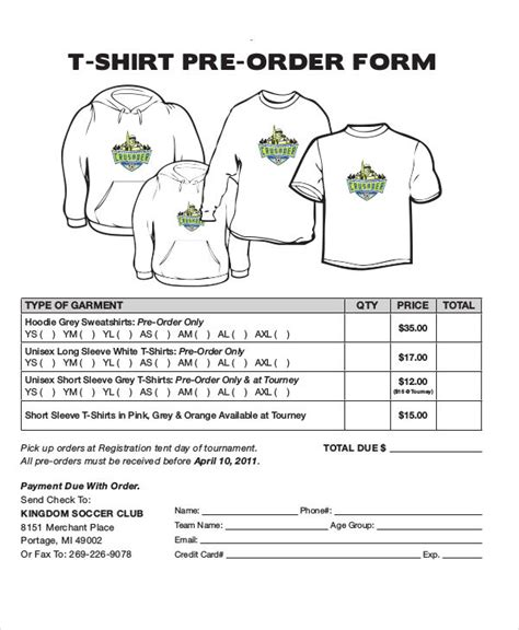 22078 t shirt order forms 12 t shirt order forms free sle exle format