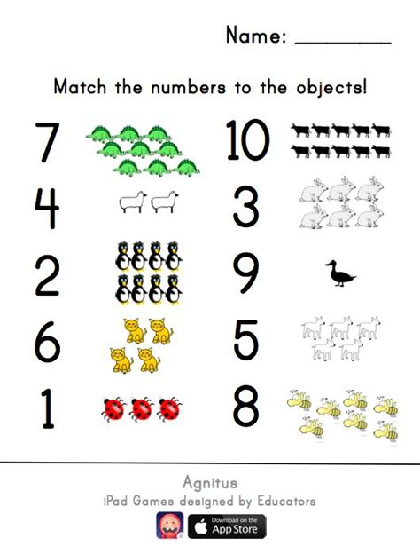 one to one correspondence worksheets match the numbers worksheet class