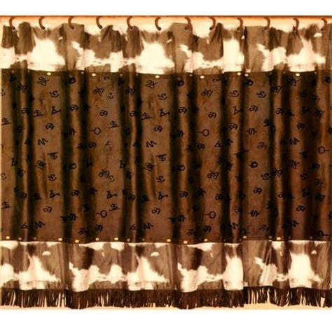 western style shower curtains cowhide print with cattle brands western shower curtain