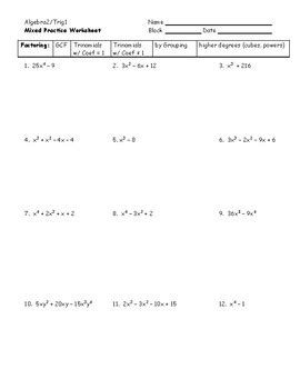 Algebra 2 Mixed Factoring Practice Worksheet By Plain And Simple Geometry