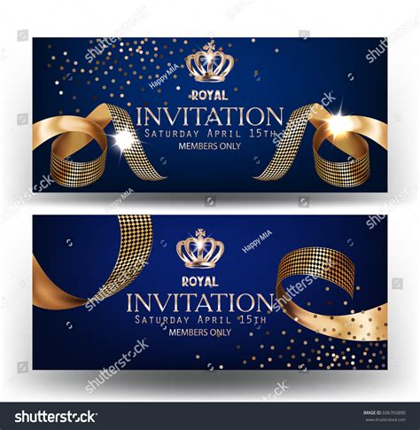 royal design banners gold curly silk stock vector