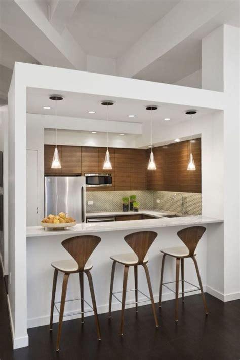 cocinas minimalistas modernas pequenas de madera  blancas