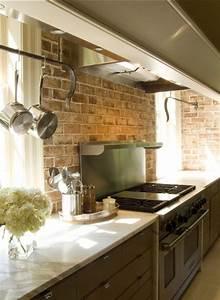 32 kitchen backsplash ideas remodeling expense for Kitchen with brick backsplash