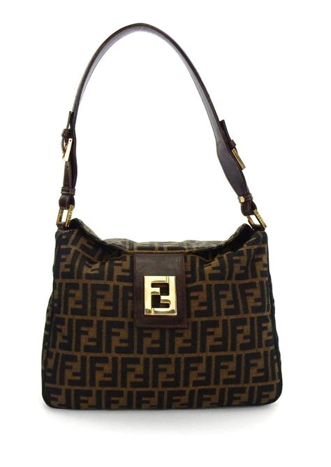 fendi vintage brown zucca monogram canvas leather shoulder