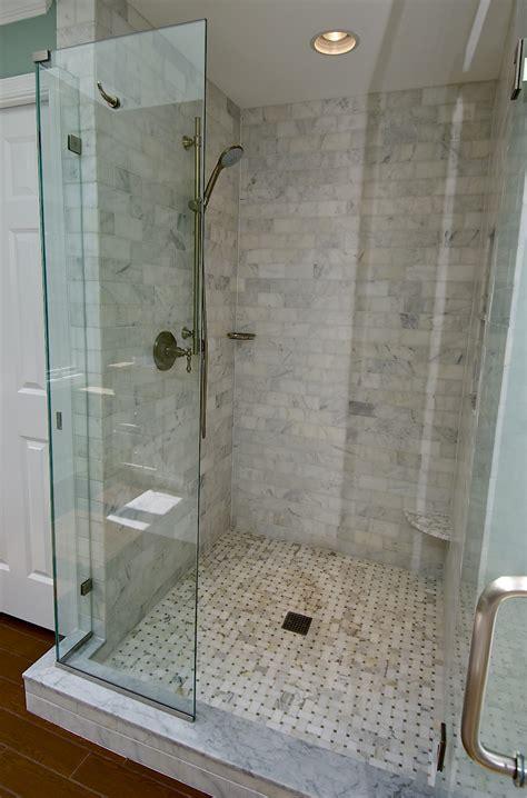 marble subway tile shower offering  sense  elegance