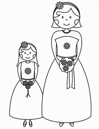 Coloring Bridesmaid Printable Sheets Flower Clipart Bride