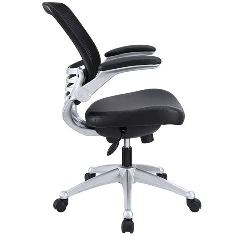 modway edge leather mesh office chair in black eei 597 blk