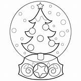 Coloring Globe Snow Pages Christmas Popular sketch template