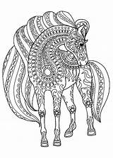 Horse Zentangle Patterns Simple Coloring Horses Pages Adult Animals sketch template