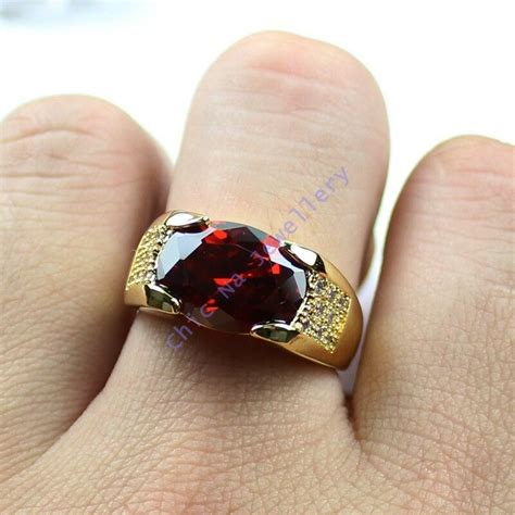 size  nice jewelry mens red garnet kt yellow gold