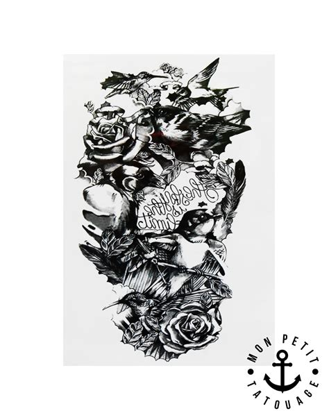 Tatouage Temporaire Composition Corbeaux, Plumes, Roses