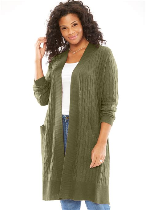 lightweight cabled duster cardigan  size cardigans full beauty