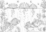 Coloring Fish Tank Printable Recognition Develop Creativity Ages Skills Focus Motor sketch template