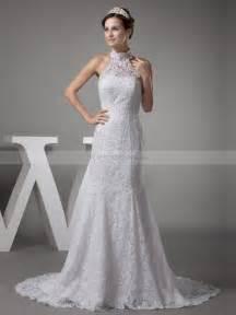 high neck wedding dresses vintage high neck lace satin mermaid wedding dress