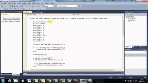 Visual Basic Tutorial  How To Programmatically Sort An Array Youtube