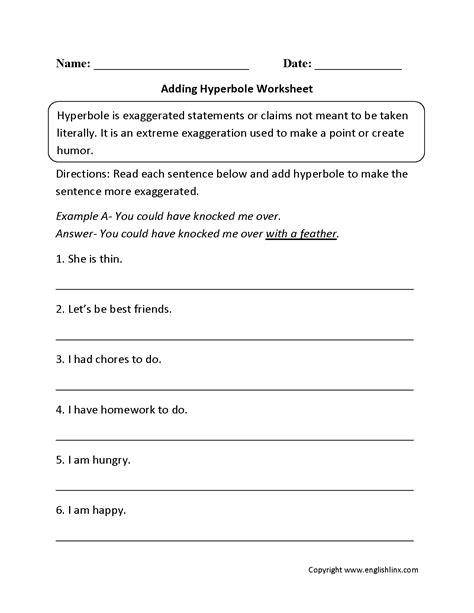 5th grade figurative language worksheet worksheets for all