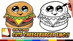 How to Draw Cute Food - Cheesburger - Draw a Cartoon ...