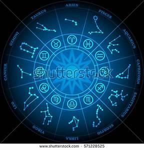 Aries Zodiac Center Circle Horoscope Signs Stock Vector ...