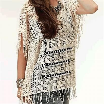 Crochet Poncho Patterns Garment Through Lace Construction