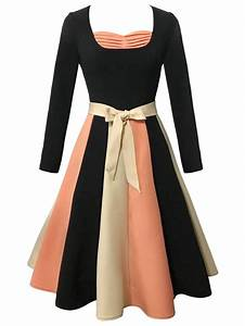 black l vintage long sleeve color block skater flare dress With rosegal robe vintage