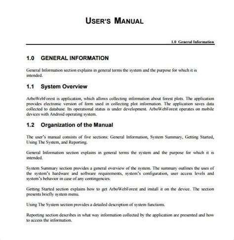 top  samples  user manual templates word templates