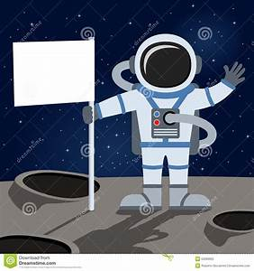 Outer Space Astronaut Holding Flag Stock Vector - Image ...