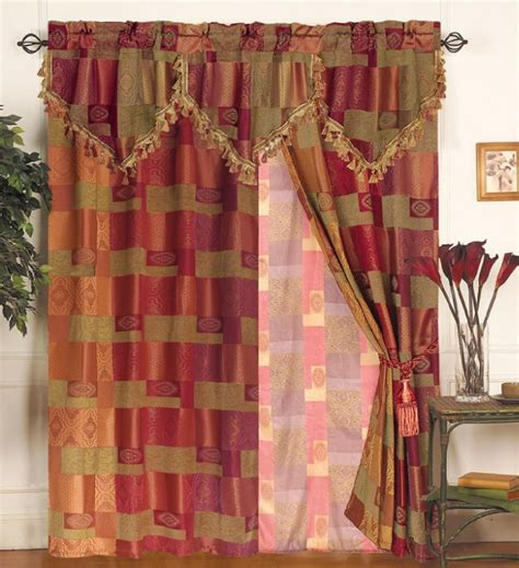 moroccan pattern curtain panels moroccan tapestry curtain set w valance sheer tassels ebay