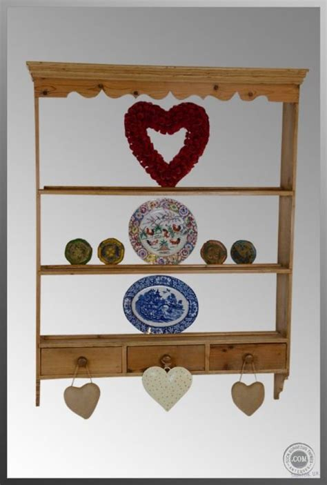 antique victorian pine hanging display shelf plate rack bookcase open cabinet kitchen