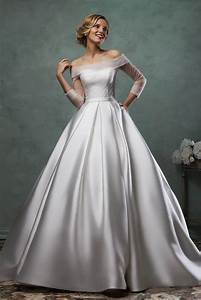 simple ball gown satin wedding dress with quarter sleeves With simple satin wedding dresses