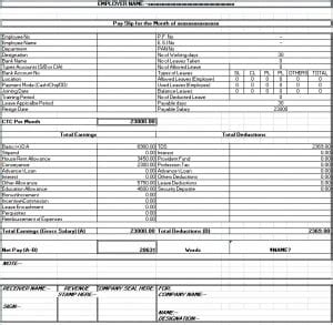 salary sheet slip formats  sample templates