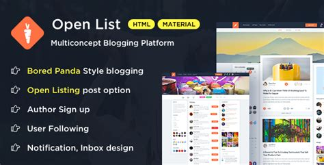 open list blogging platform bootstrap template