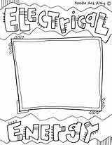Energy Coloring Pages Printable Printables Electrical sketch template