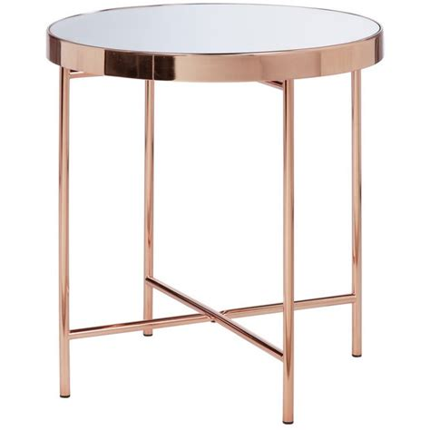 buy collection  glass top side table copper plated