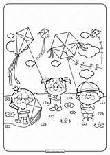 Coloring Pdf Printable Kites Flying Kite Colouring Coloringoo Children Boys sketch template
